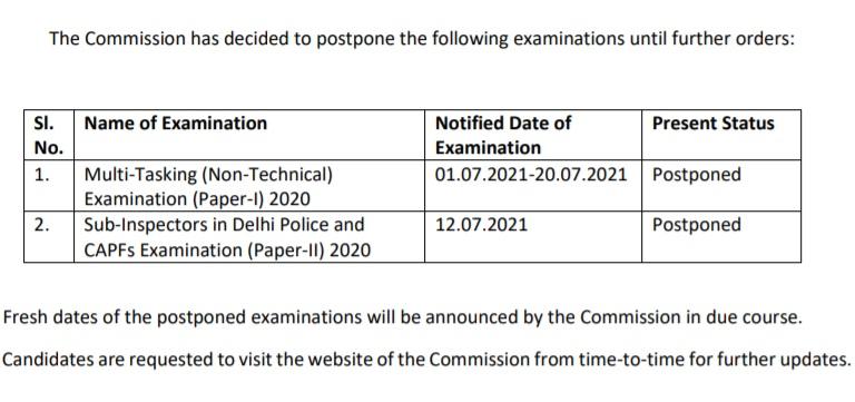 SSC MTS Exam date 1