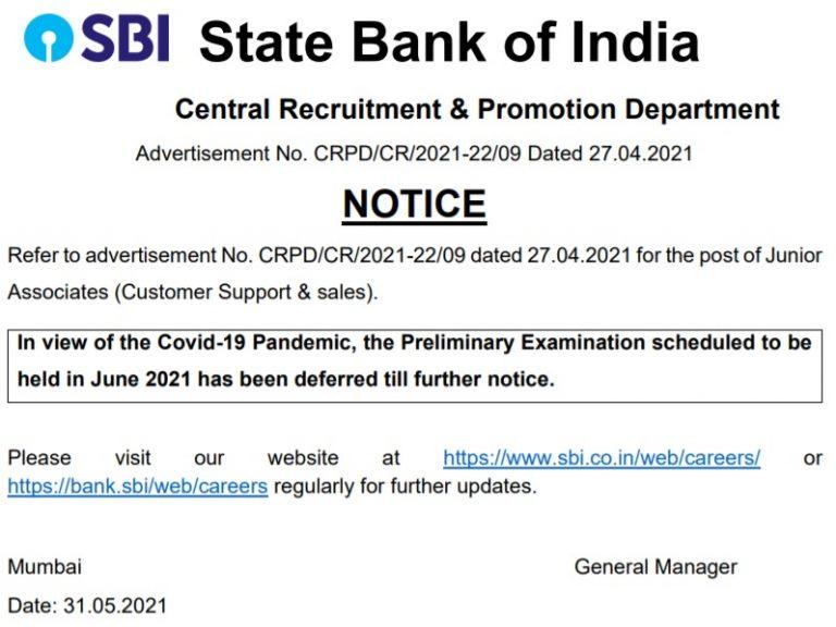 SBI Clerk Exam date 768x576 2